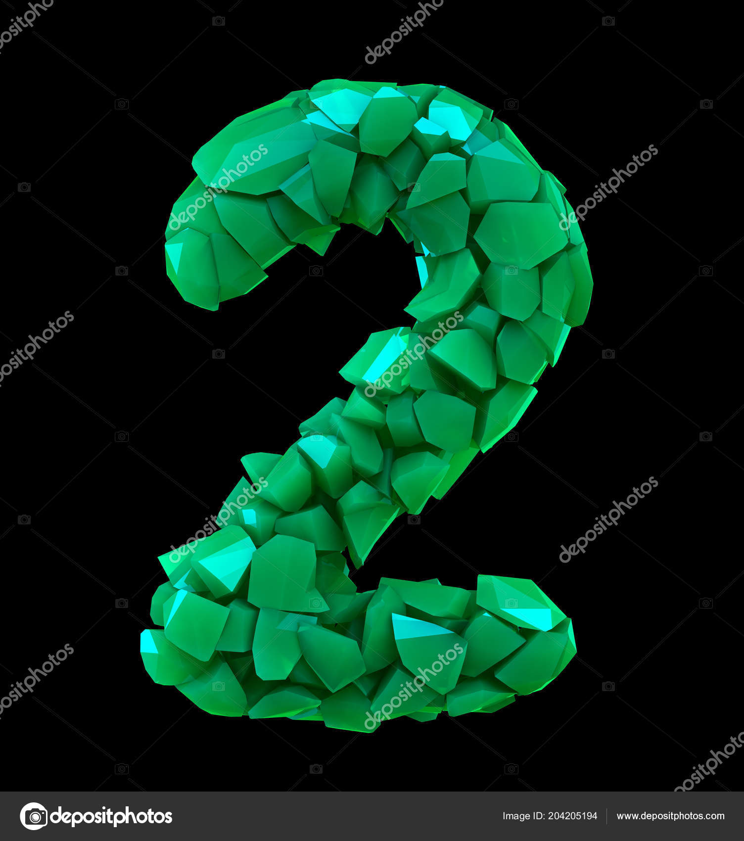 Number two 2 made of broken plastic green color isolated black ...