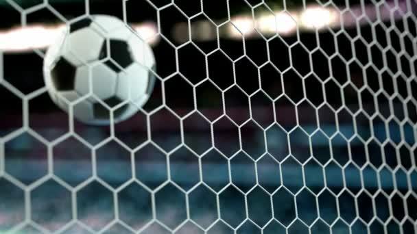 schöner Fußball fliegt in Zeitlupe ins Tornetz. Fußball 3D Animation des Tores Moment. 4k