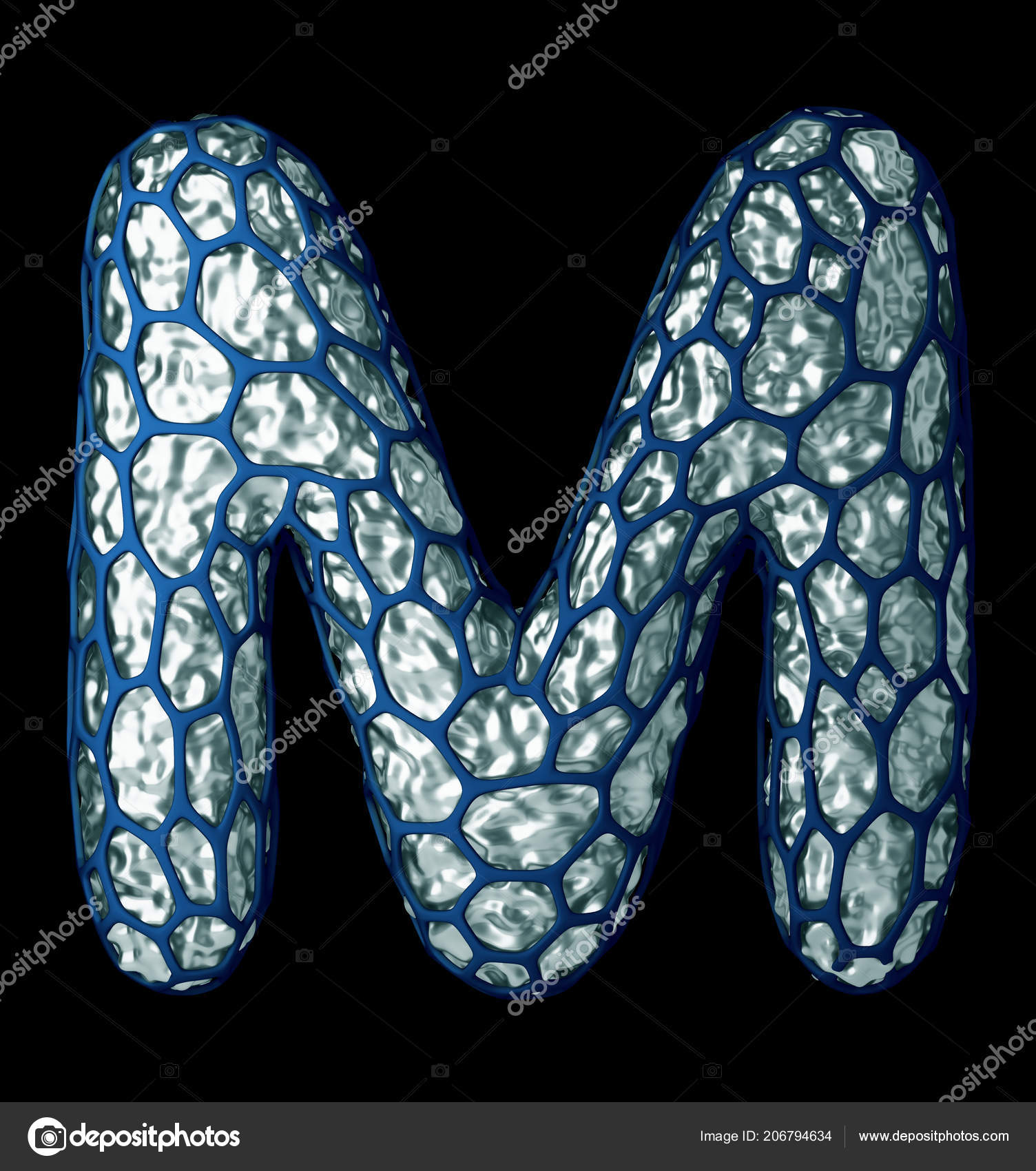 Silver Shining Metallic 3d With Blue Cage Symbol Capital Letter M