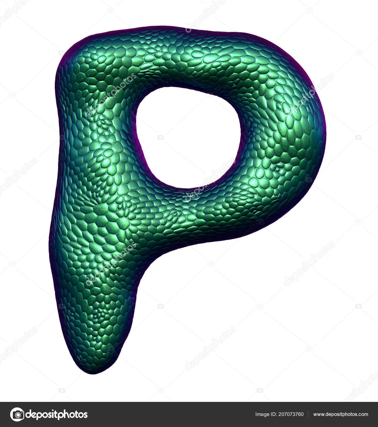 Letter P Made Of Natural Green Snake Skin Texture Isolated On White