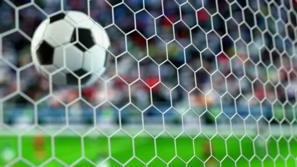 schöner Fußball fliegt in Zeitlupe ins Tornetz. Fußball 3D Animation 4k