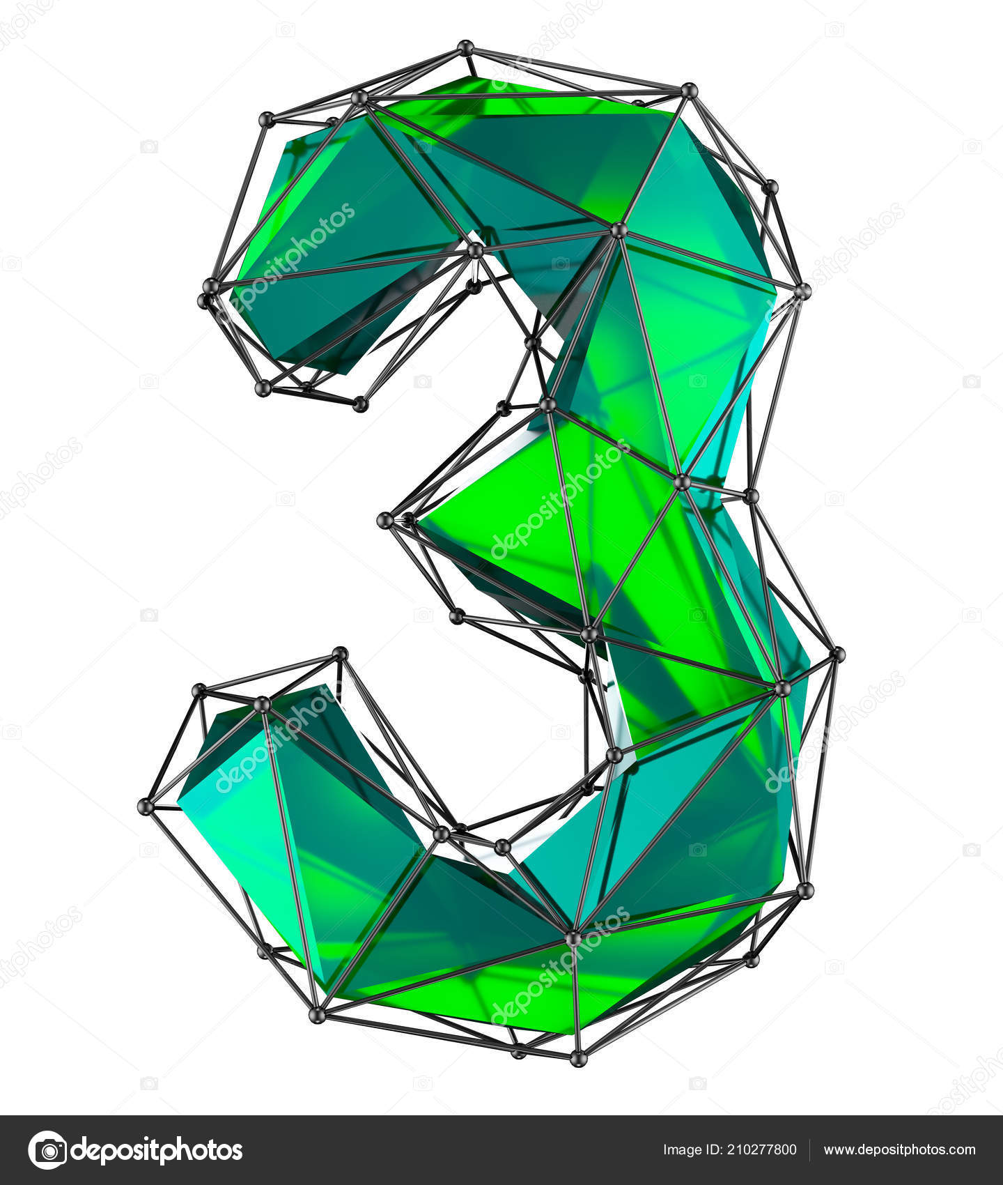Number 3 three in low poly style green color isolated. 3d — Stock Photo