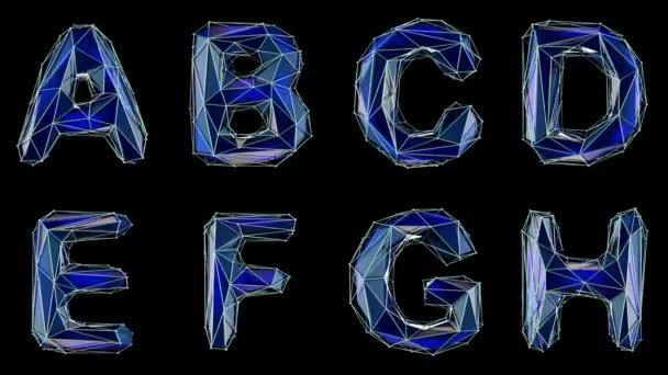 Abeceda z nízké poly stylu izolované na černém pozadí. A B C D E F G H. alfa kanál 3d vykreslování 4k