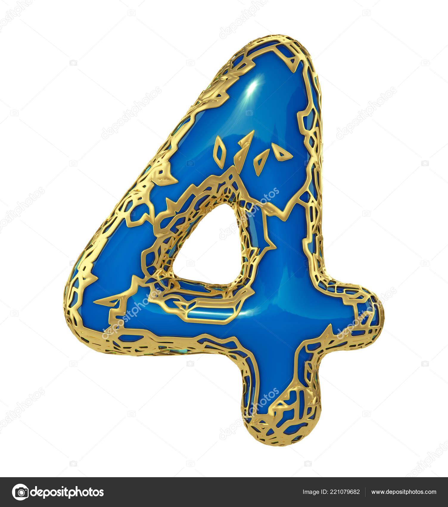 Metalik Yapılan Beyaz 3d Izole Mavi Boya Ile Altın Parlayan Sayı