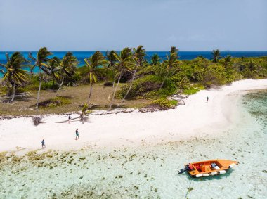 Aerial drone view of tropical islands, turquoise Caribbean sea of Tobago cays, and a family with kids in St Vincent and Grenadines