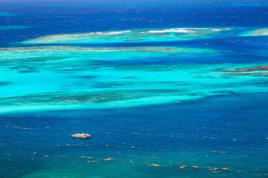 Aerial view of turquoise Caribbean sea in St Vincent and Grenadines