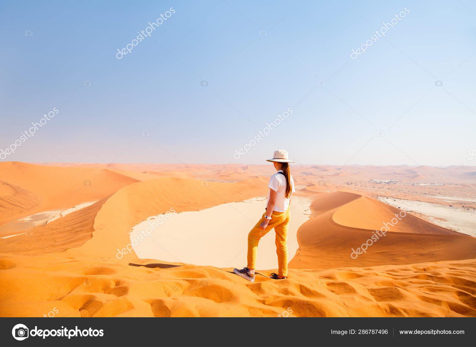 Little Girl Enjoying Breathtaking View Famous Red Sand Dune