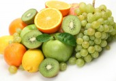 Fotografie citrus fruits, green apples and kiwi for dietary and vegetarian food