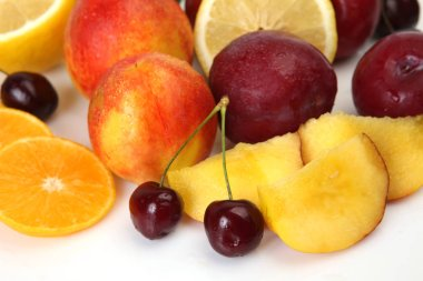 ripe fruit for healthy and healthy food, apple, orange, cherry