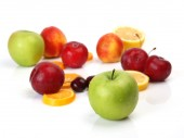 Fotografie ripe fruits for healthy eating - apples, plums, oranges and cherries