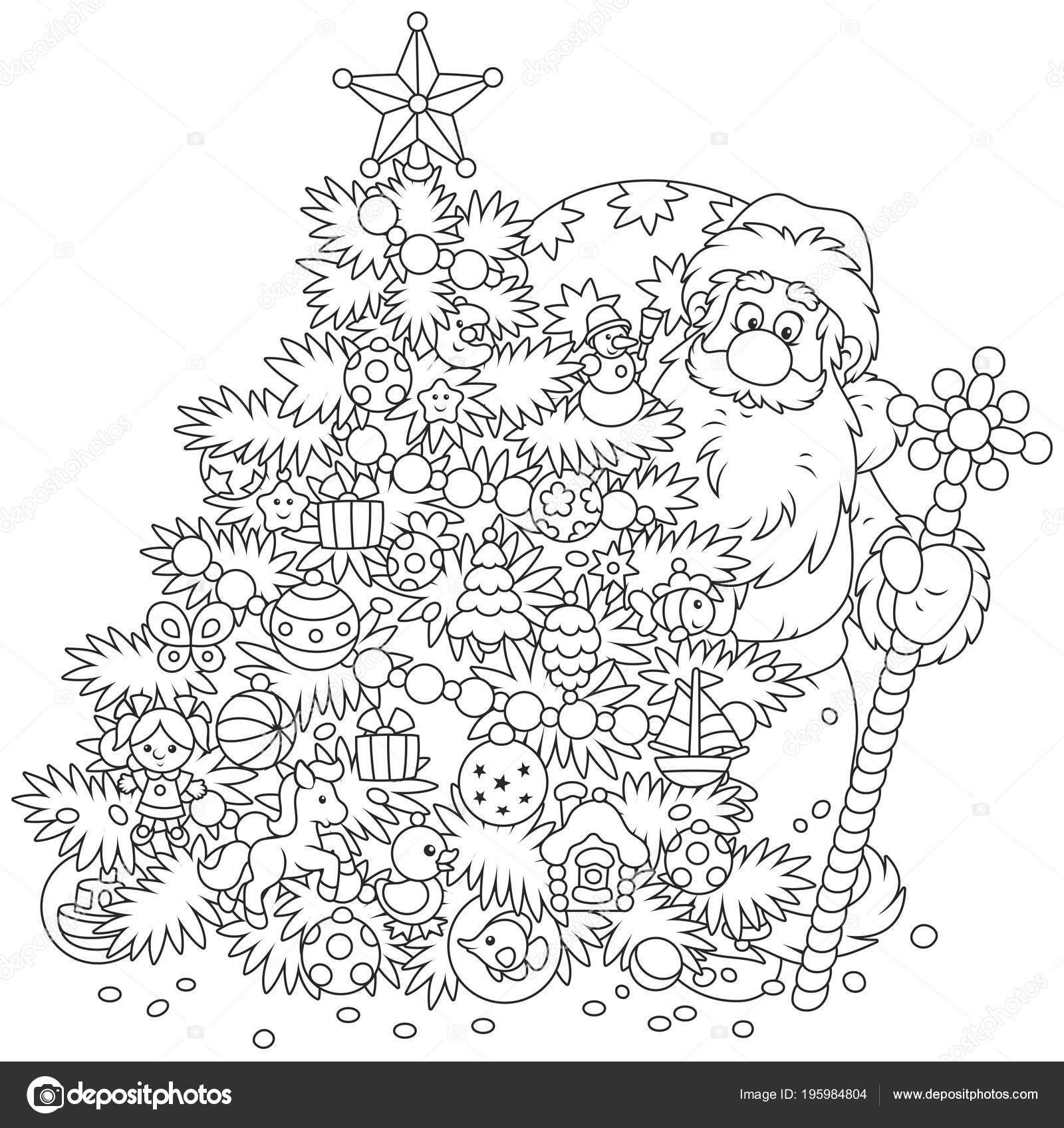 Immagini Di Babbo Natale In Bianco E Nero.Babbo Natale Con Suo Sacchetto Del Regalo Bastone Magico Che