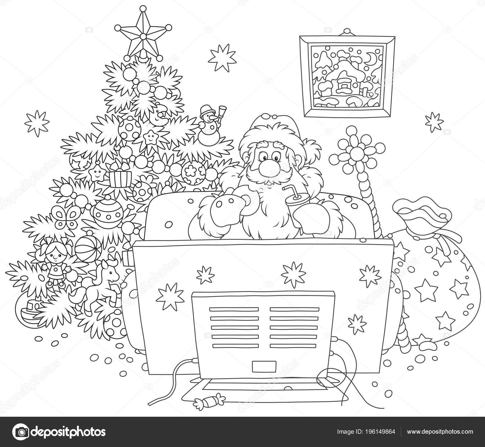 santa claus sitting on his sofa and watching tv near a decorated christmas tree and a big bag of gifts black and white vector illustration in a cartoon