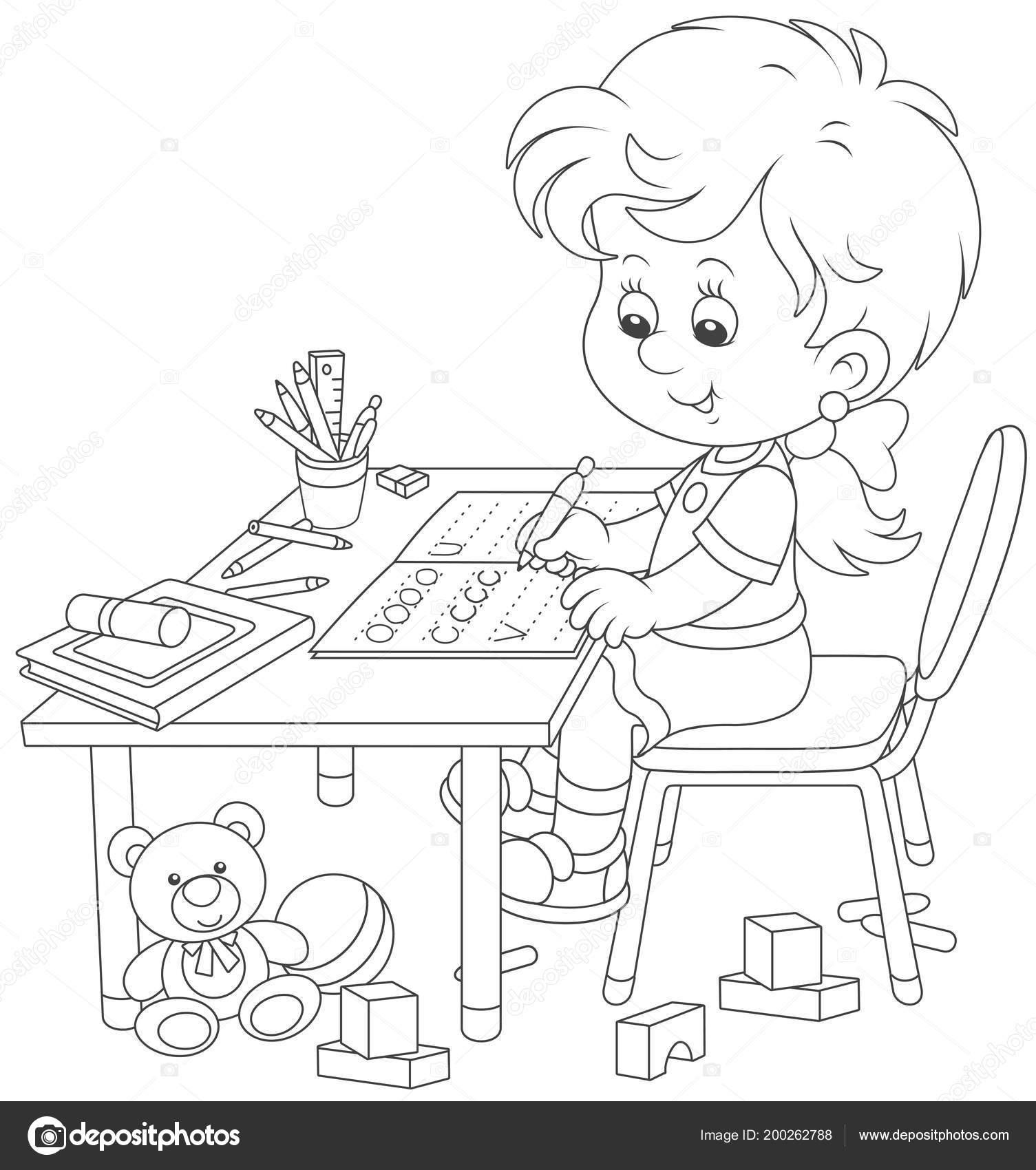 Küçük Kız Bir Egzersiz Kitabı Yazma Siyah Beyaz Vektör çizim Stok