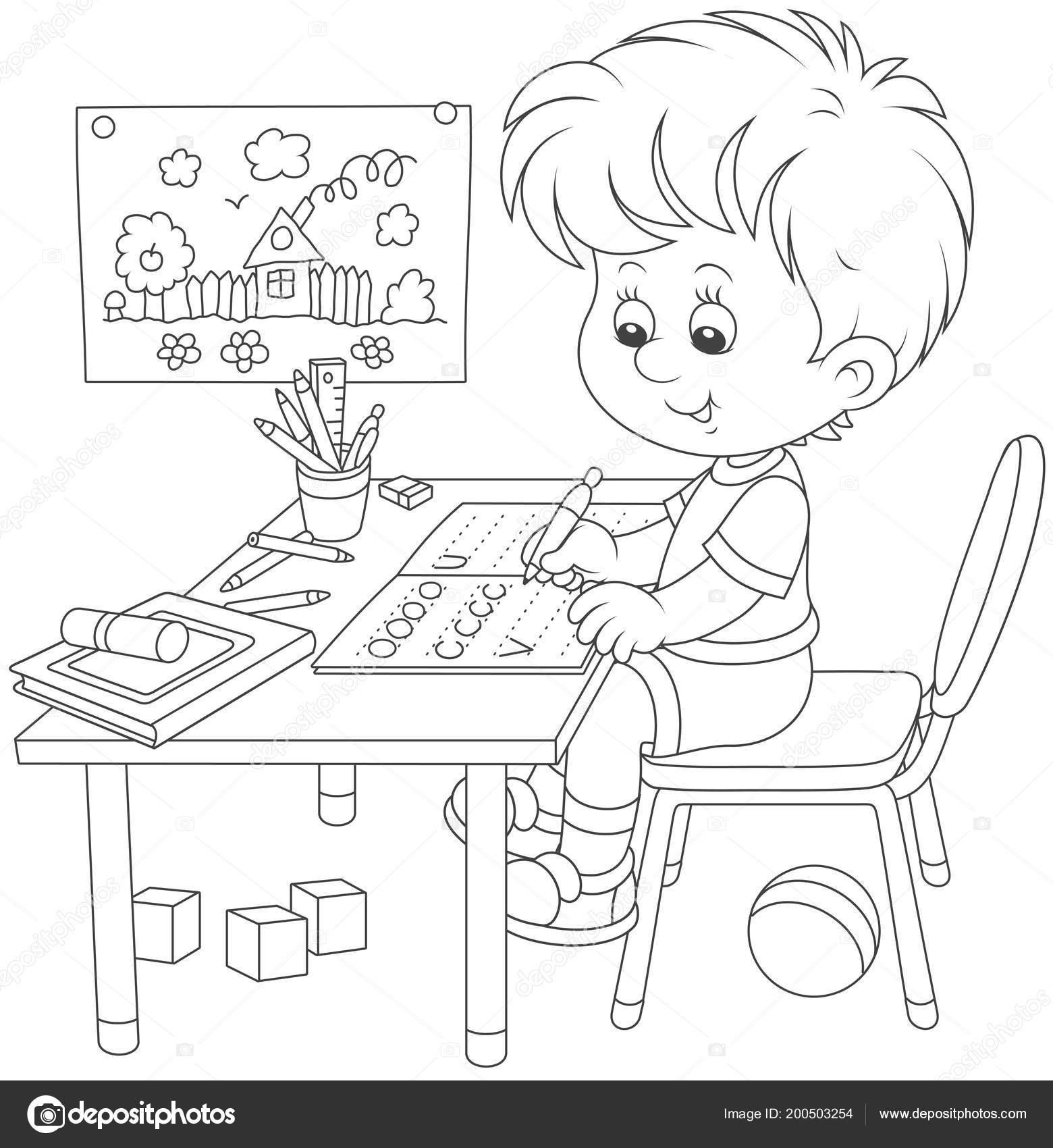 Küçük çocuk Bir Egzersiz Kitabı Yazma Siyah Beyaz Vektör çizim