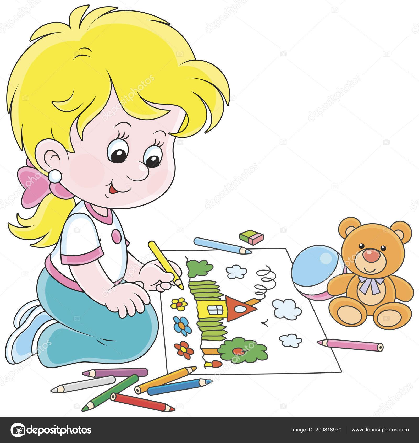 Kleines Mädchen Zeichnen Mit Farbstiften Ein Lustiges Sommer Bild