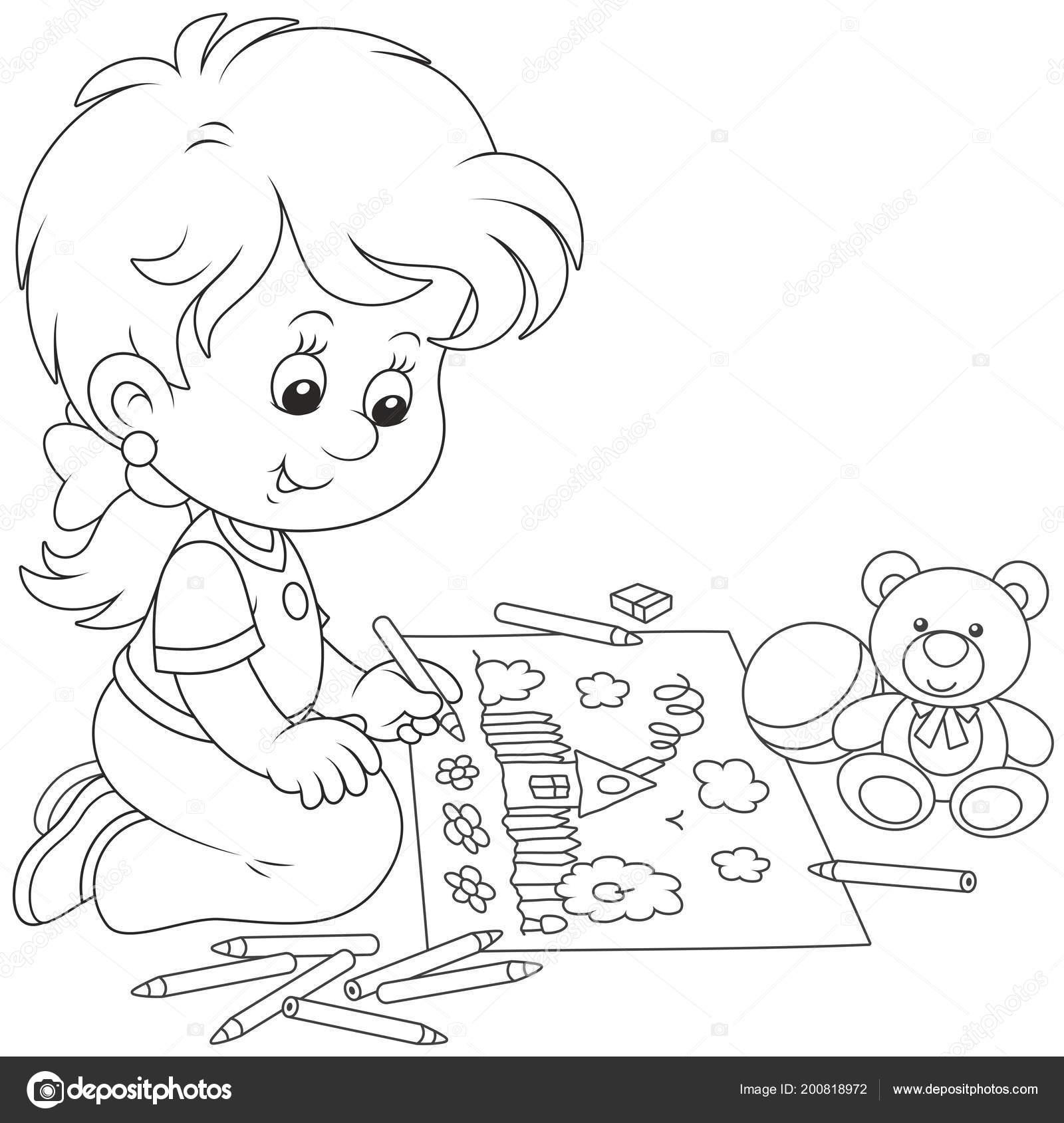 Animado Niña Estudiando Para Colorear Niña Dibujo Con Lápices Una