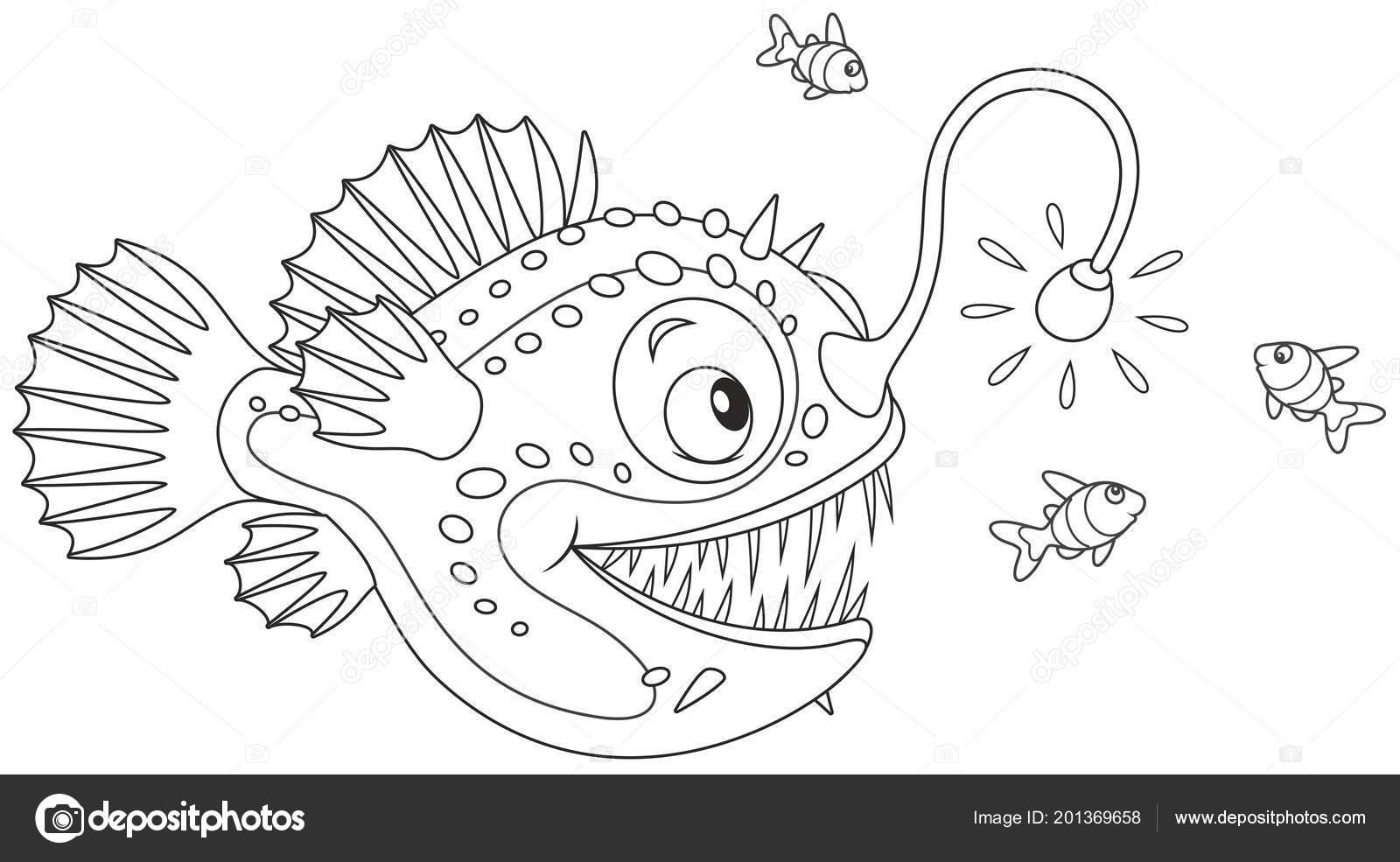 Fener Balığı Derin Bir Deniz üzerinde Küçük Balıklar Siyah Beyaz