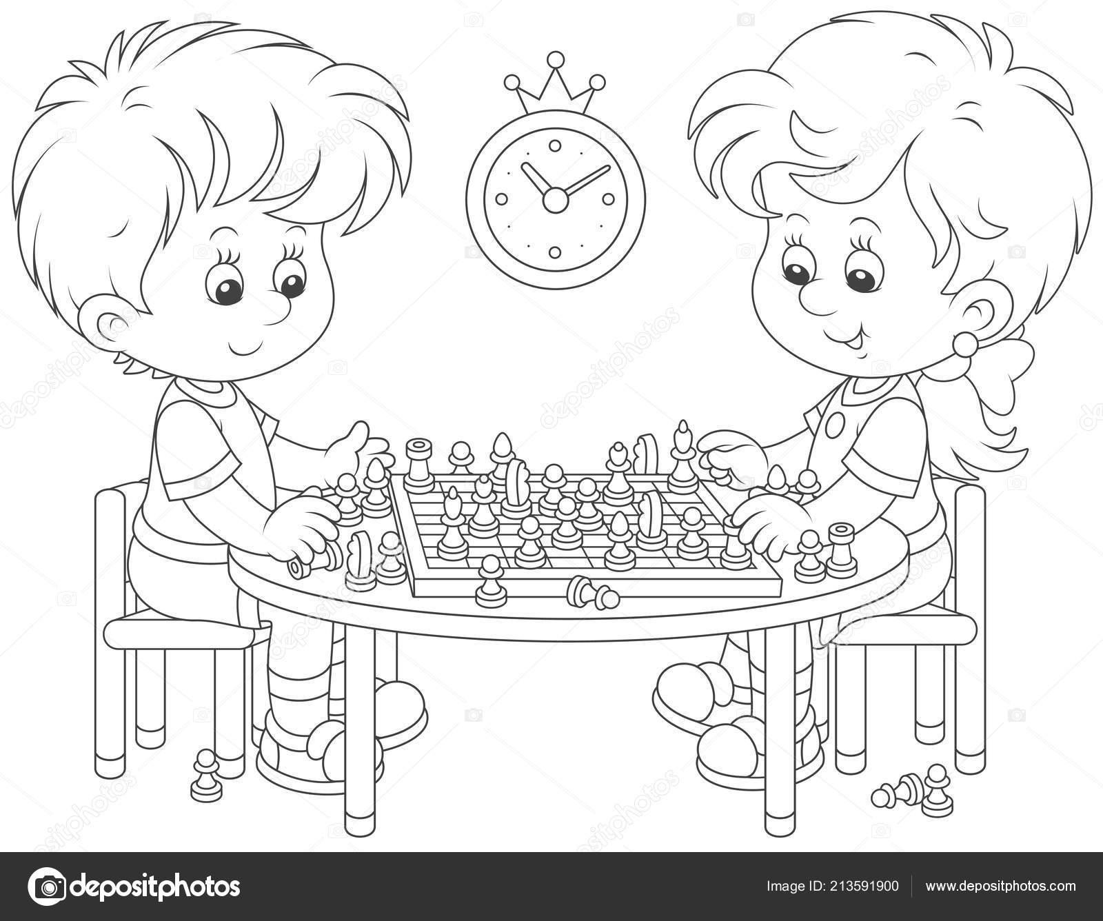Küçük çocuk Satranç Siyah Beyaz Vektör çizim Karikatür Tarzı Oyun
