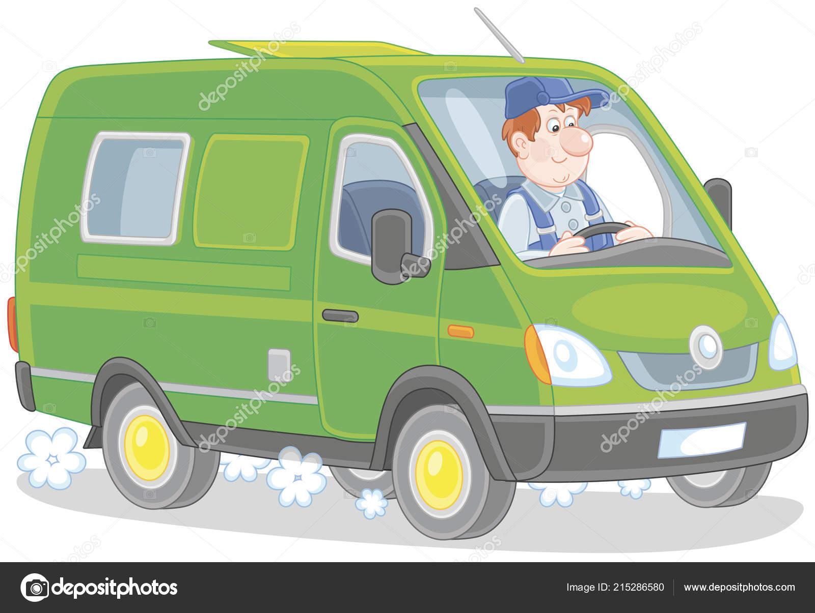 Pilote Dans Camionnette Livraison Rapide Illustration