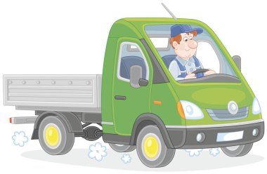 Driver in his small green truck, vector illustration in a cartoon style