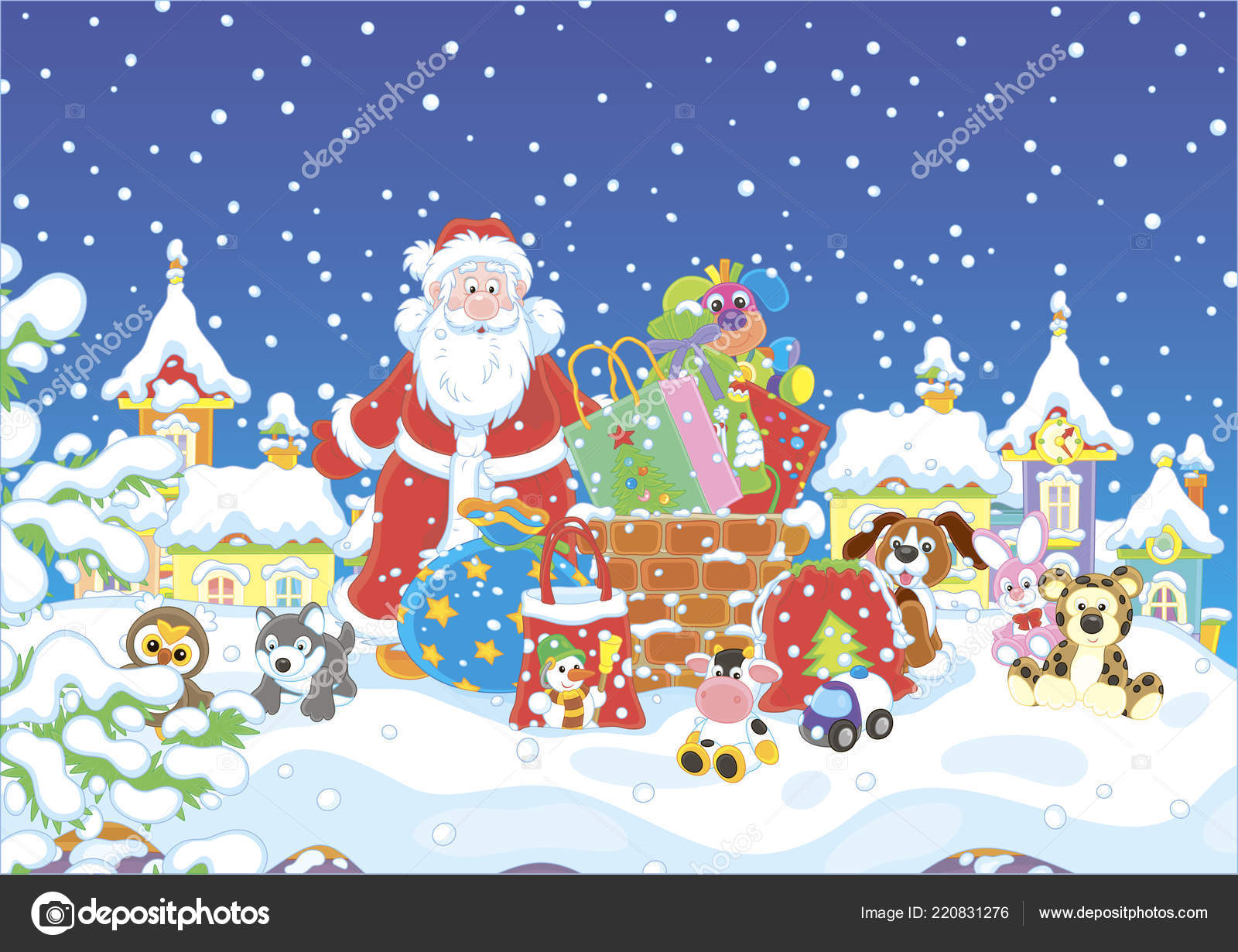 Night Christmas Santa Claus His Gifts Chimney Snow Covered Roof ...