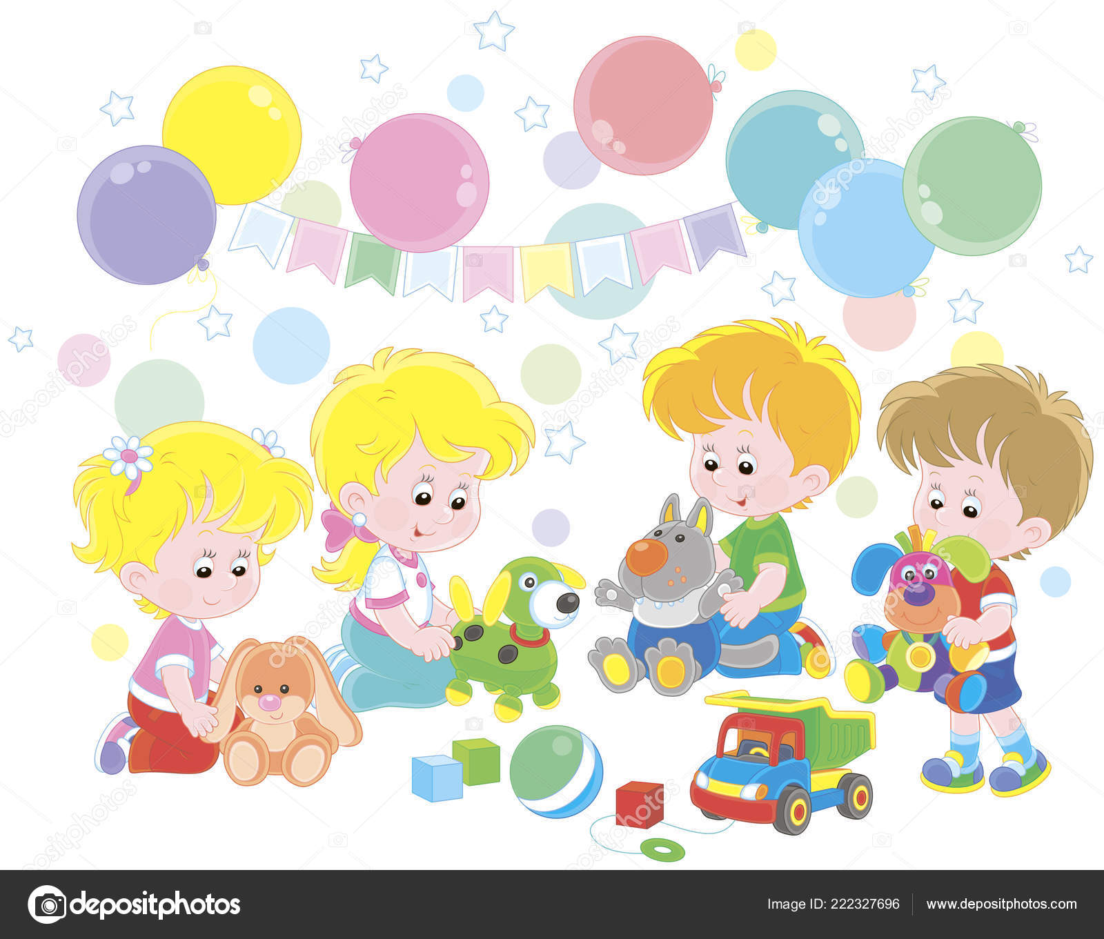 Colorful Playroom: Small Children Playing Colorful Soft Toys Playroom Vector