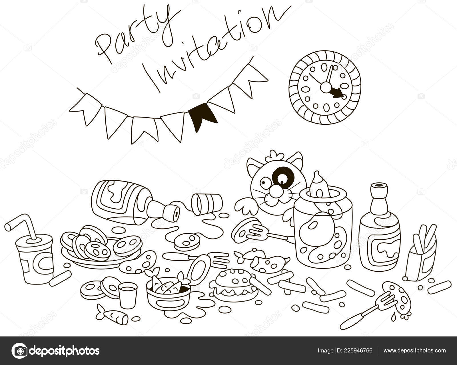 Funny Party Invitation Card Amusing Tipsy Cat Table Drinks