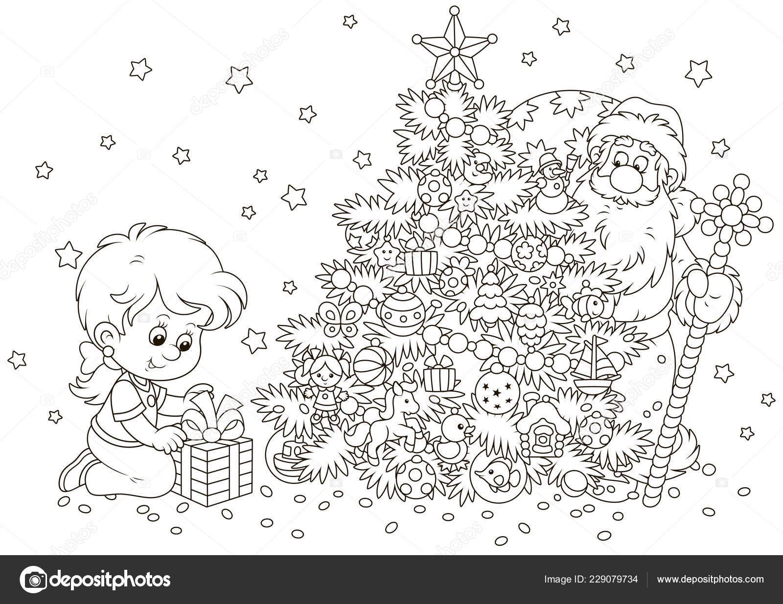 Petite Fille Avec Son Cadeau Père Noël Qui Cachant