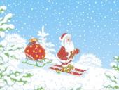 Weihnachtsmann fährt durch einen verschneiten Winterwald und trägt seine Tasche mit Weihnachtsgeschenken auf seinem Schlitten, Vektor-Illustration im Cartoon-Stil