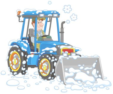 Smiling worker driving his wheeled tractor grader with a bucket and cleaning snow after snowfall, vector illustration in cartoon style
