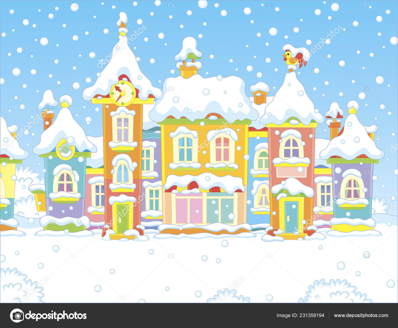 Phenomenal Clipart Snowy Day Colorful Houses Small Toy Town Snowy Interior Design Ideas Skatsoteloinfo