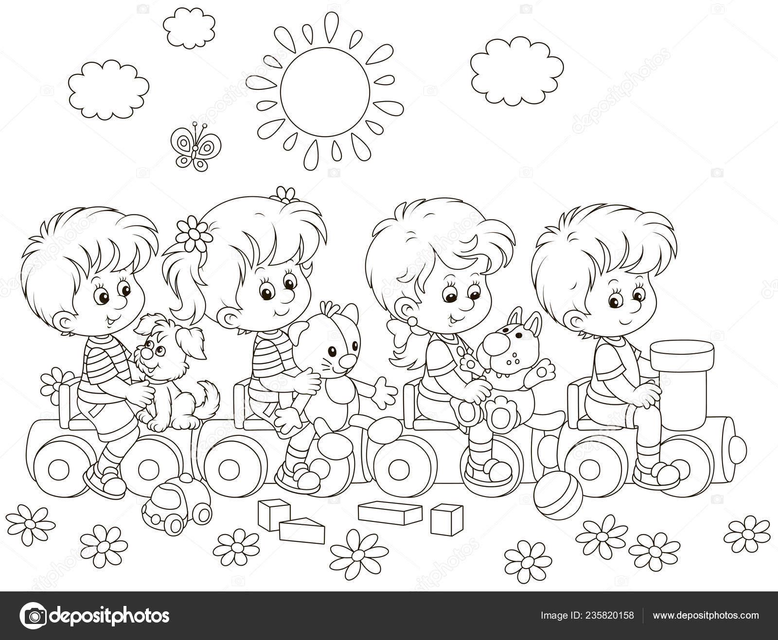 Niños Pequeños Jugando Juguete Tren Patio Una Ilustración
