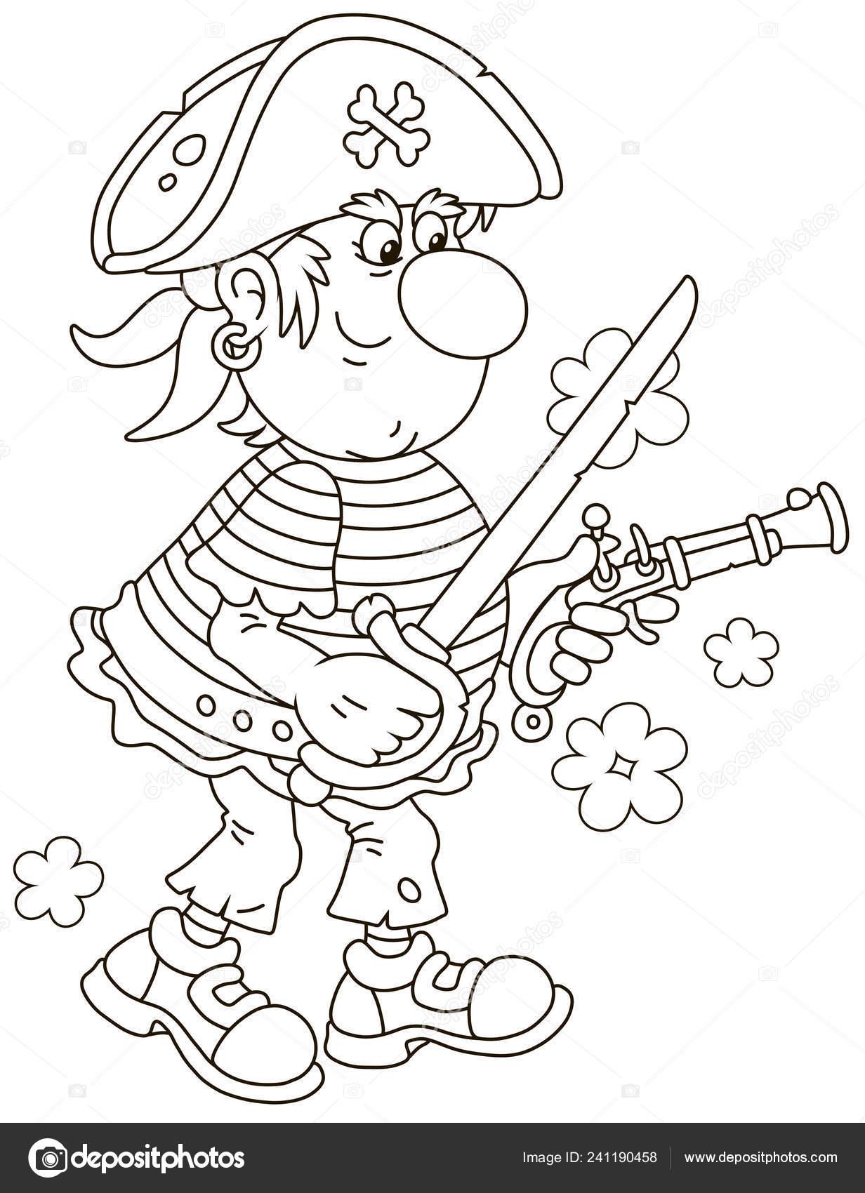 Pirata Mar Tiro Vieja Pistola Blandiendo Sable Ilustración Vector