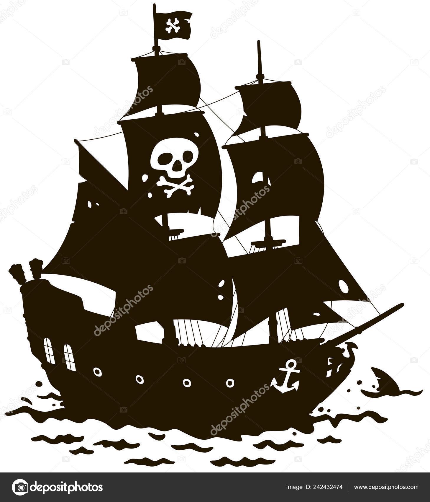Viejo Pirata Mar Velero Con Jolly Roger Mástil Principal Una