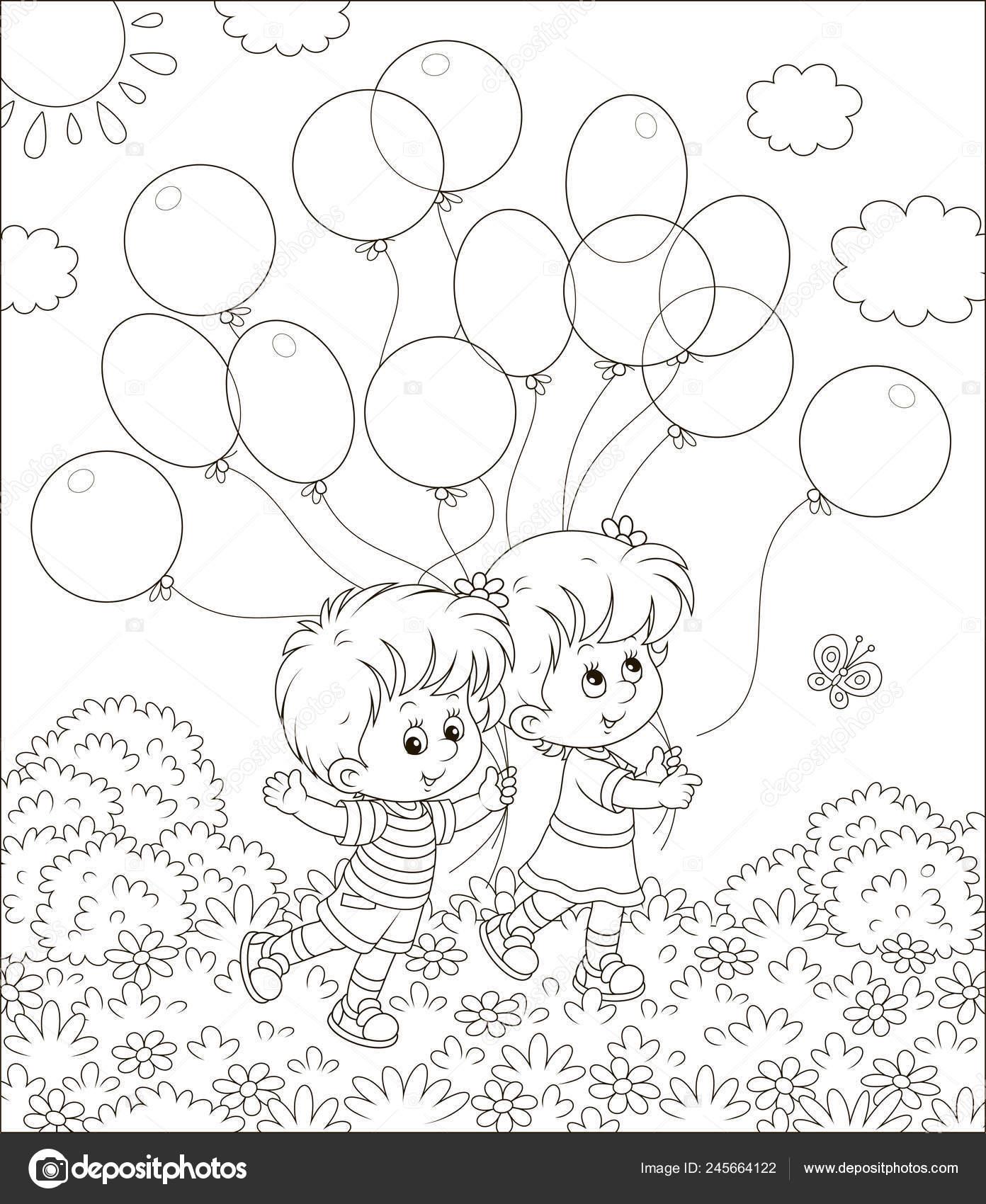 Children Walking Balloons Park Sunny Summer Day Black White Vector