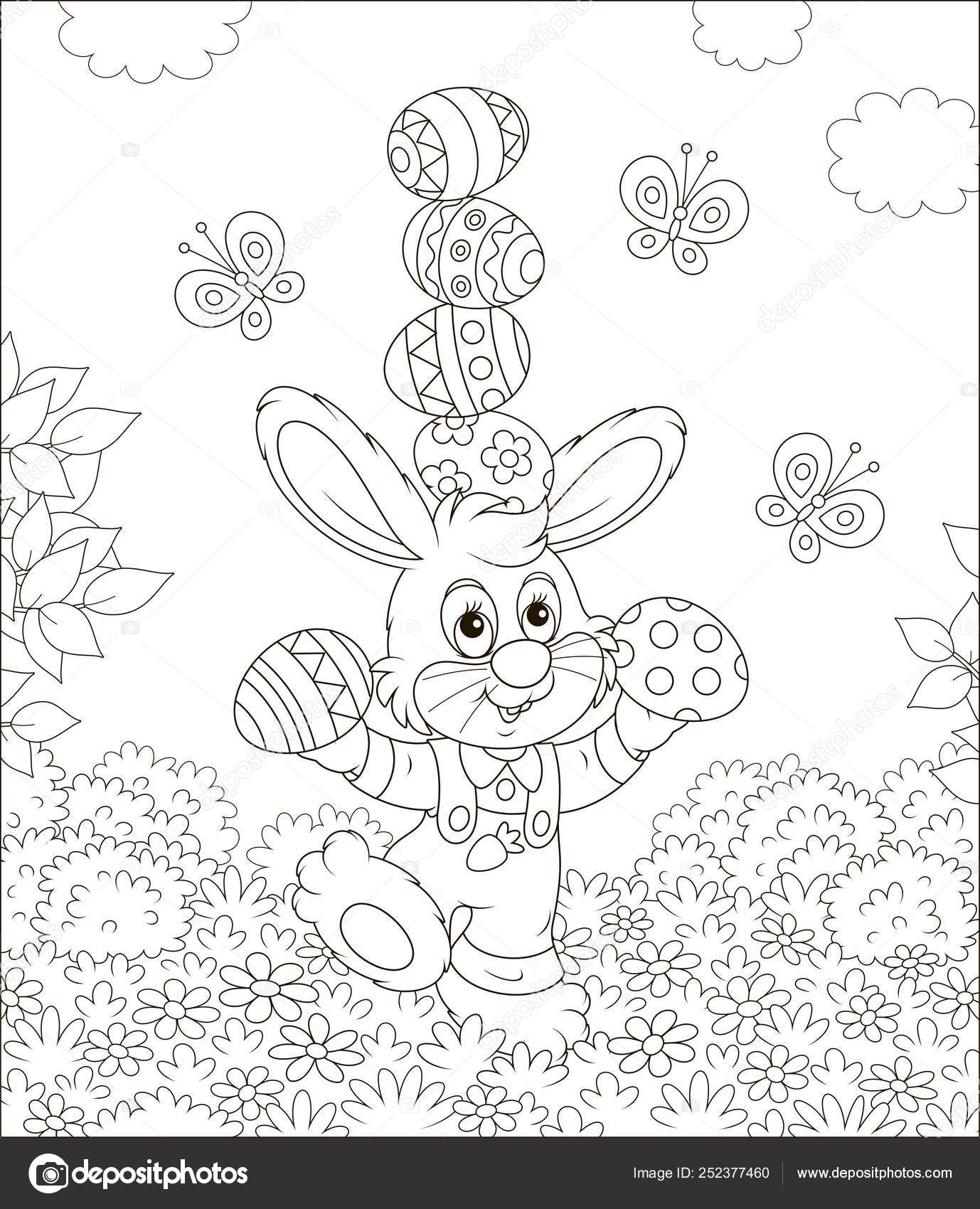 Little Easter Bunny Juggling Colored Eggs Flowers Grass Lawn ...