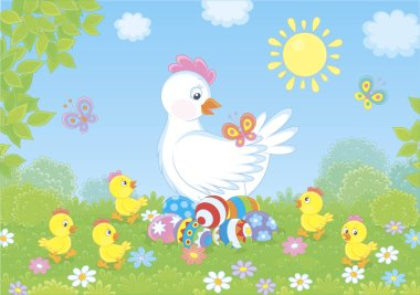 White hen sitting on colored Easter eggs and surrounded by small chicks walking on green grass among flowers and flittering butterflies on a sunny spring day, vector illustration in a cartoon style