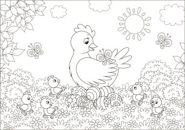 Hen sitting on colored Easter eggs and surrounded by small chicks walking on grass among flowers and flittering butterflies on a sunny spring day, vector illustration in a cartoon style