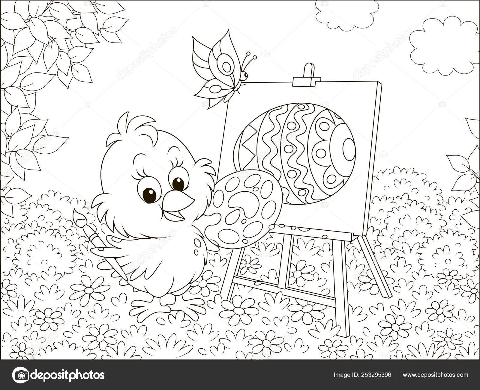 Little Chick Drawing Decorated Easter Egg Flowers Grass Lawn ...