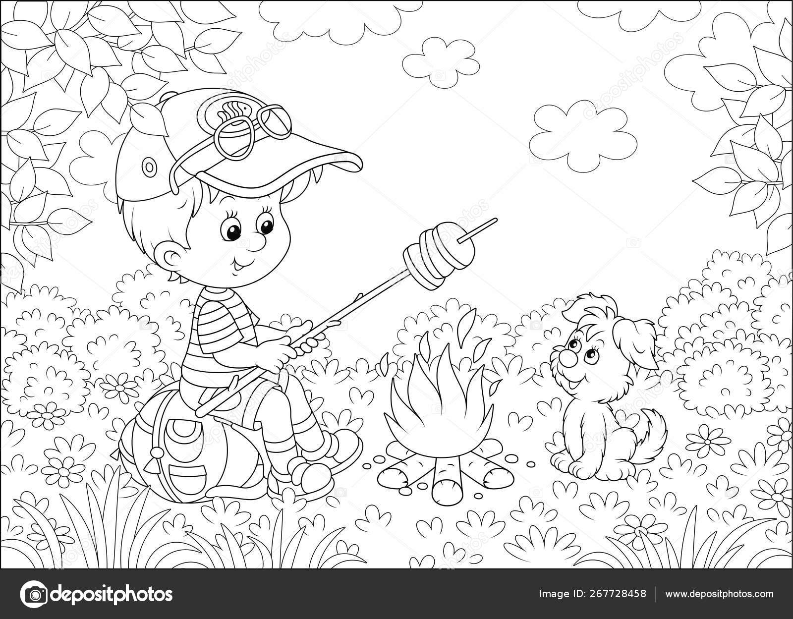 Petit boy scout rôtissant du pain sur le feu de camp sur une clairière  d'une forêt par une journée ensoleillée d'été, illustration vectorielle en  noir ...