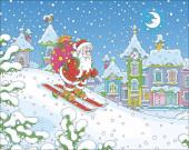 in der Nacht vor Weihnachten fährt der Weihnachtsmann mit seinem großen Sack voller Geschenke einen schneebedeckten Hügel hinunter in eine kleine schneebedeckte Stadt, Vektor-Illustration im Cartoon-Stil