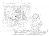 In der Nacht vor Weihnachten schaut ein kleiner Junge aus einem Fenster auf den Weihnachtsmann beim Skifahren mit einem Schlitten und seiner großen Tüte voller Weihnachtsgeschenke, schwarz-weiße Vektor-Cartoon-Illustration