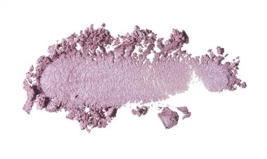 Broken pink powder or eye shadow for makeup isolated on white background. Texture of broken pink blush or gently pink eye shadow isolated on white