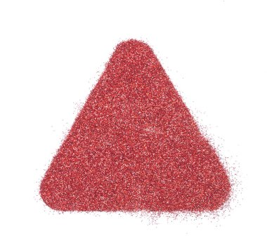 Bright and original red glitter background, in the form of a triangle stencil