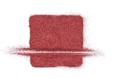 Bright and original red glitter background, in the form of a square stencil