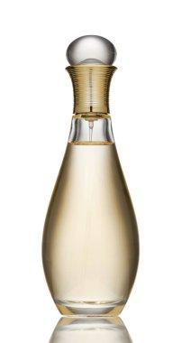 Elegant jar of female perfume on a white background. Perfume bottle isolated on white background. Perfume botle of new fragrance cologne for women