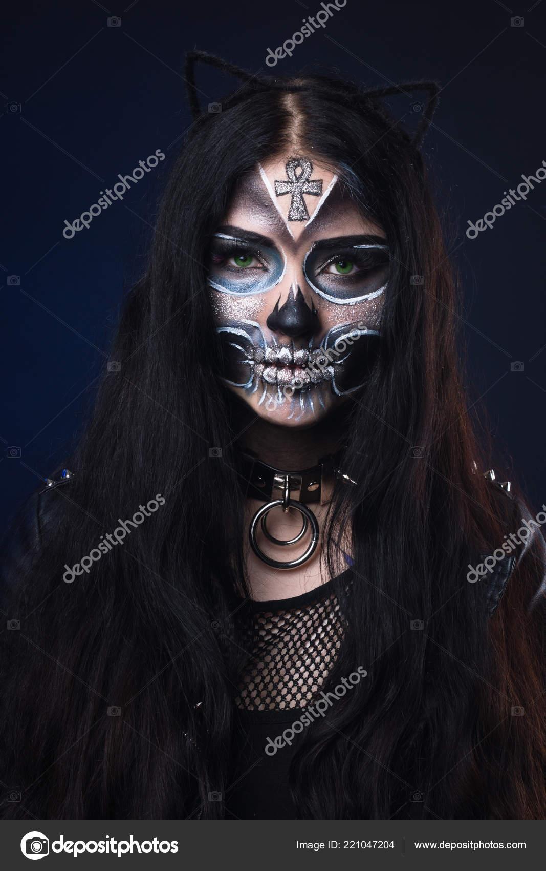 Halloween Sminkek.Smink Halloween Maszk Santa Muerte Mexikoi Folklor Stock