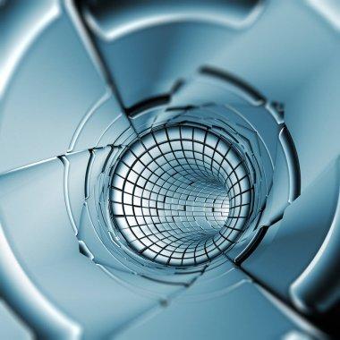 Blue geometry tunnel