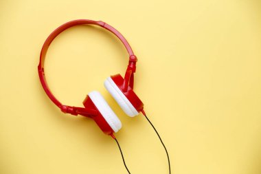 Image of red with white headphones for music
