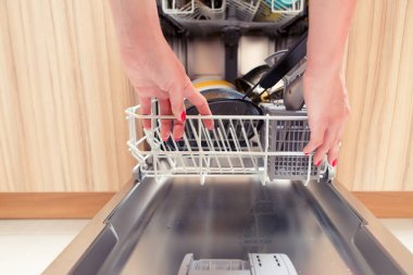 Picture of girls hand opening dishwasher with dirty dishes